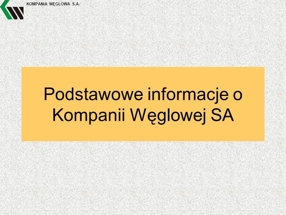 KOMPANIA WĘGLOWA S.A. Podstawowe informacje o Kompanii Węglowej SA