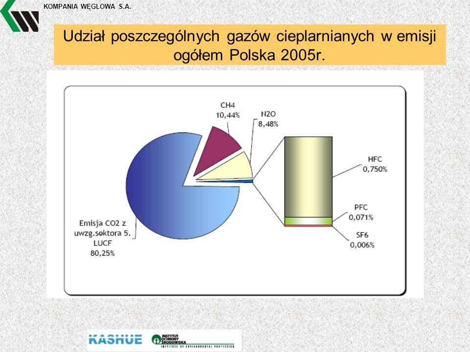 KOMPANIA WĘGLOWA S.A. Udział poszczególnych gazów cieplarnianych w emisji ogółem Polska 2005r. Pp