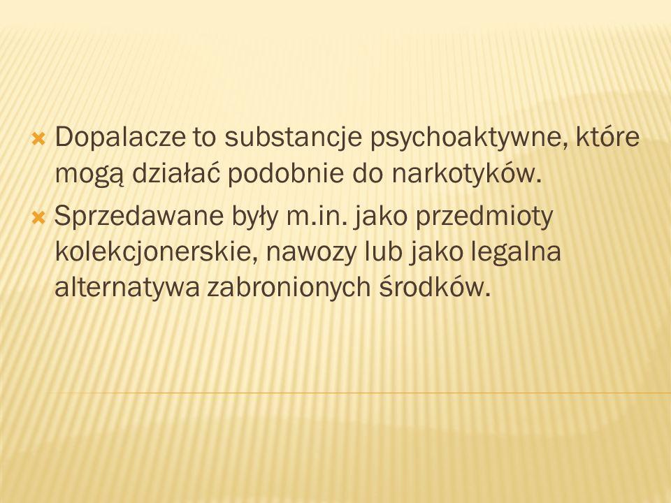  Dopalacze to substancje psychoaktywne, które mogą działać podobnie do narkotyków.
