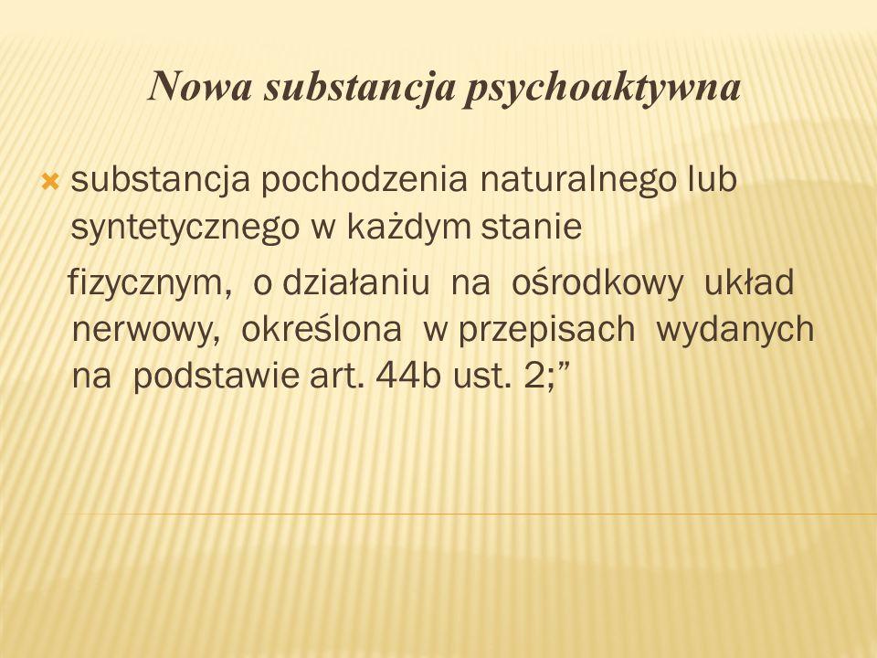 Nowa substancja psychoaktywna  substancja pochodzenia naturalnego lub syntetycznego w każdym stanie fizycznym, o działaniu na ośrodkowy układ nerwowy, określona w przepisach wydanych na podstawie art.