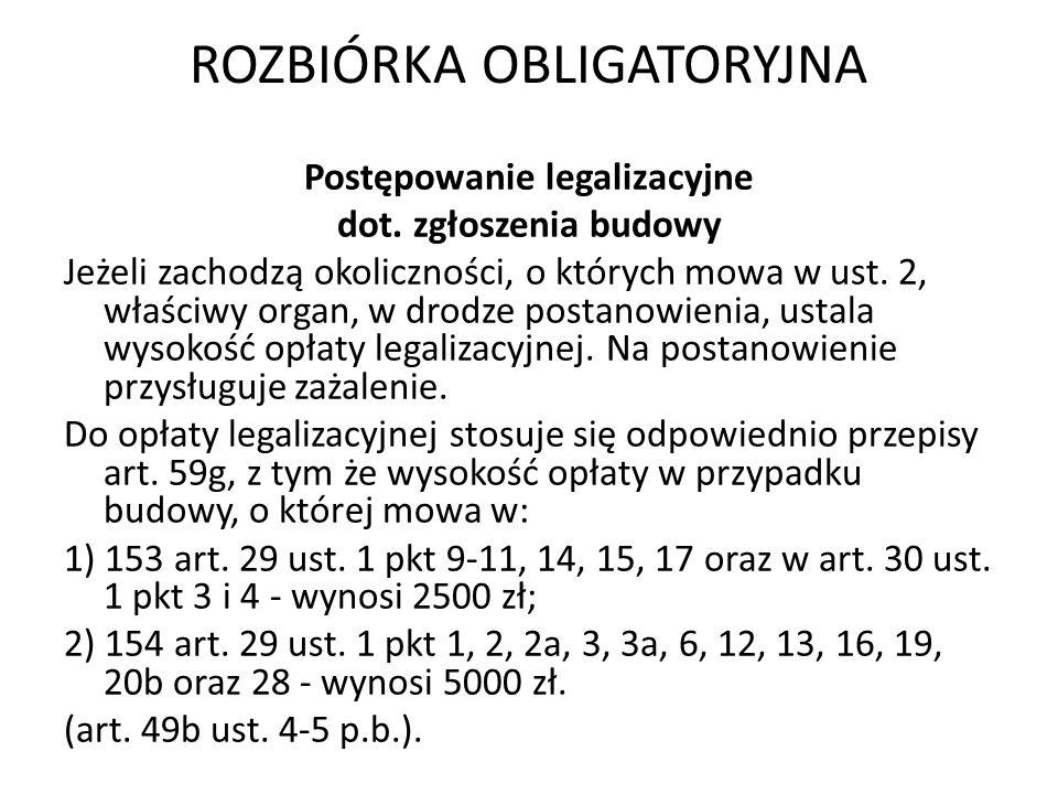 ROZBIÓRKA OBLIGATORYJNA Postępowanie legalizacyjne dot. zgłoszenia budowy Jeżeli zachodzą okoliczności, o których mowa w ust. 2, właściwy organ, w dro