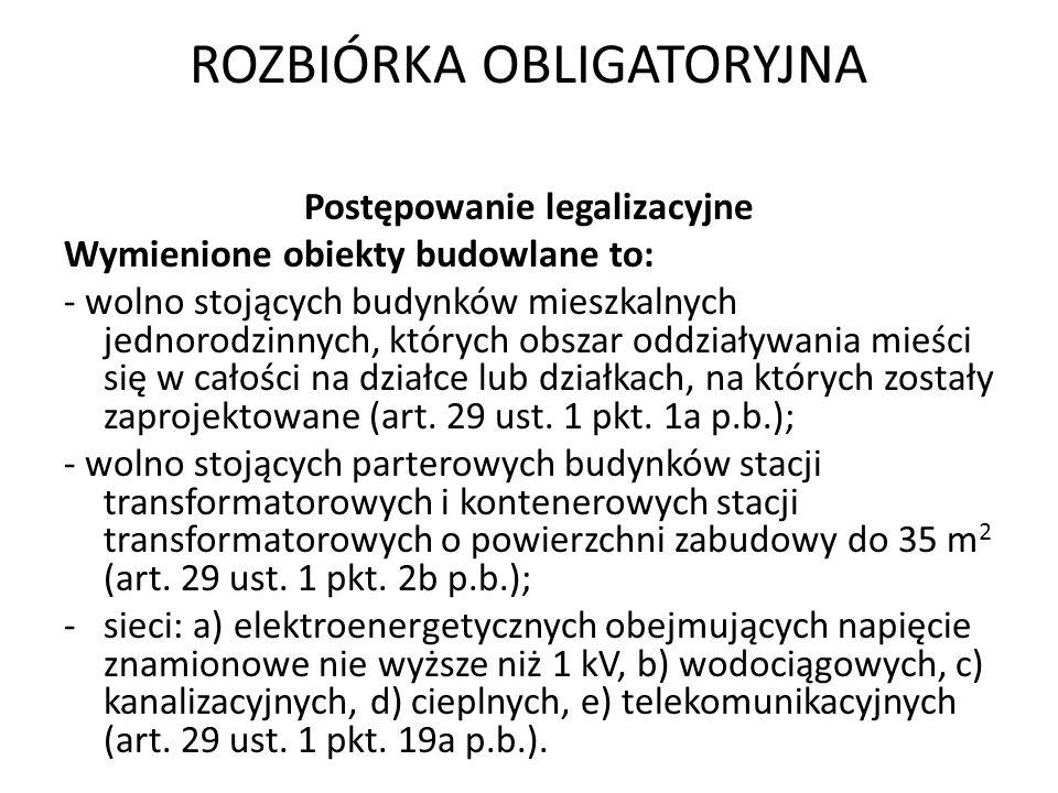 ROZBIÓRKA OBLIGATORYJNA Postępowanie naprawcze Przepisów ust.