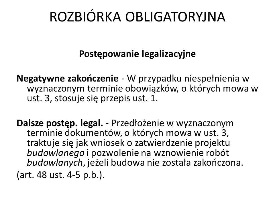 ROZBIÓRKA OBLIGATORYJNA Kazus 2.4 Ryszard Paprocki realizował obiekt budowlany bez wymaganego pozwolenia na budowę.
