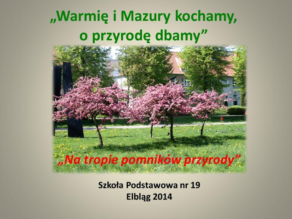 """""""Warmię i Mazury kochamy, o przyrodę dbamy"""" """"Na tropie pomników przyrody"""" Szkoła Podstawowa nr 19 Elbląg 2014"""