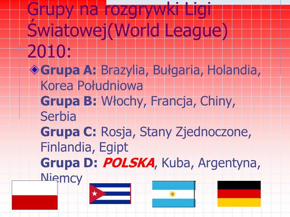 Grupy na rozgrywki Ligi Światowej(World League) 2010: Grupa A: Brazylia, Bułgaria, Holandia, Korea Południowa Grupa B: Włochy, Francja, Chiny, Serbia Grupa C: Rosja, Stany Zjednoczone, Finlandia, Egipt Grupa D: POLSKA, Kuba, Argentyna, Niemcy