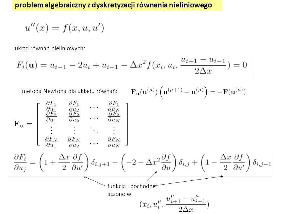 problem algebraiczny z dyskretyzacji równania nieliniowego układ równań nieliniowych: metoda Newtona dla układu równań: funkcja i pochodne liczone w
