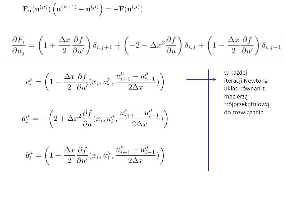 w każdej iteracji Newtona układ równań z macierzą trójprzekątniową do rozwiązania