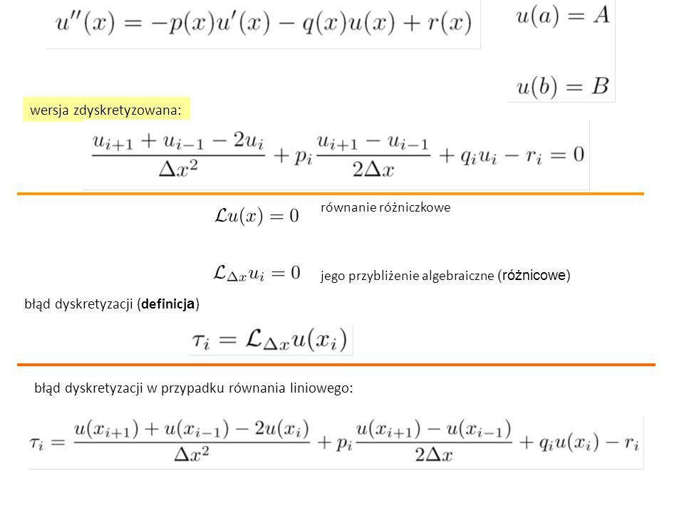 wersja zdyskretyzowana: błąd dyskretyzacji (definicj a ) równanie różniczkowe jego przybliżenie algebraiczne (różnicowe) błąd dyskretyzacji w przypadk