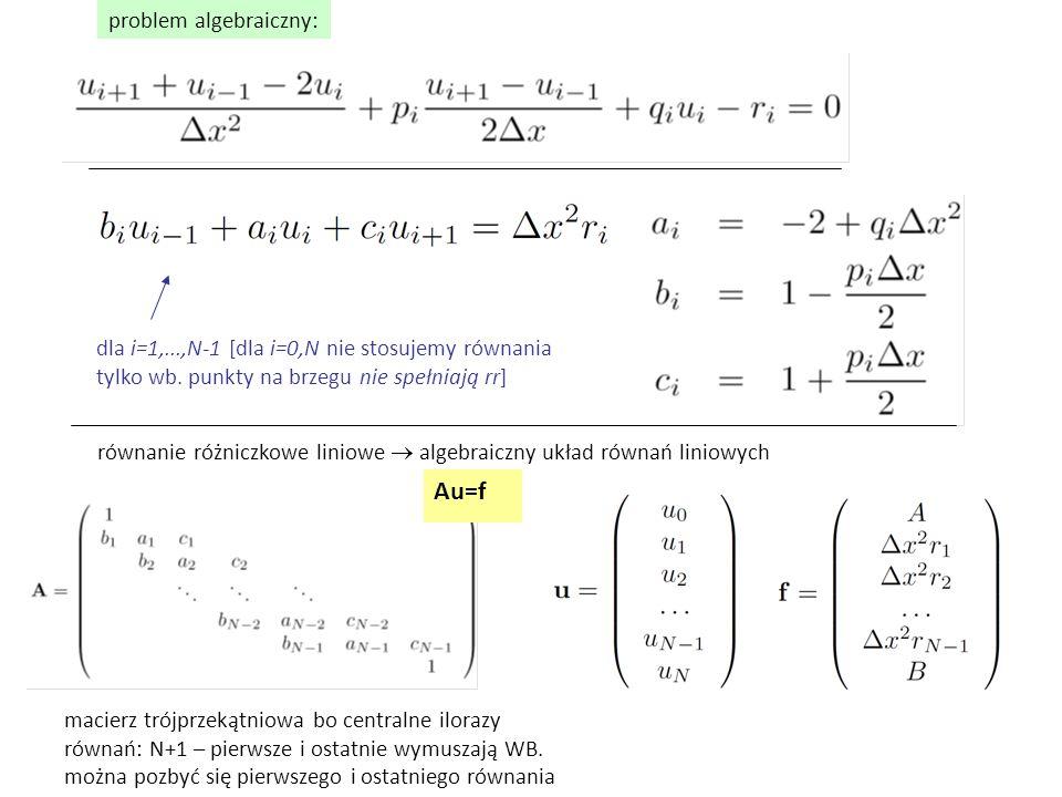 można pozbyć się pierwszego i ostatniego równania i=1 i=N-1 zmodyfikowane wg wzorunajlepiej zamiast np.