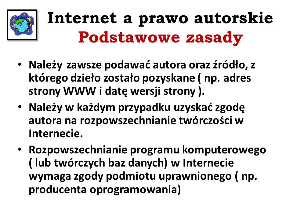 Internet a prawo autorskie Podstawowe zasady Zamieszczanie prezentacji multimedialnej w Internecie wymaga zgody autorów wszystkich dzieł w niej użytych.