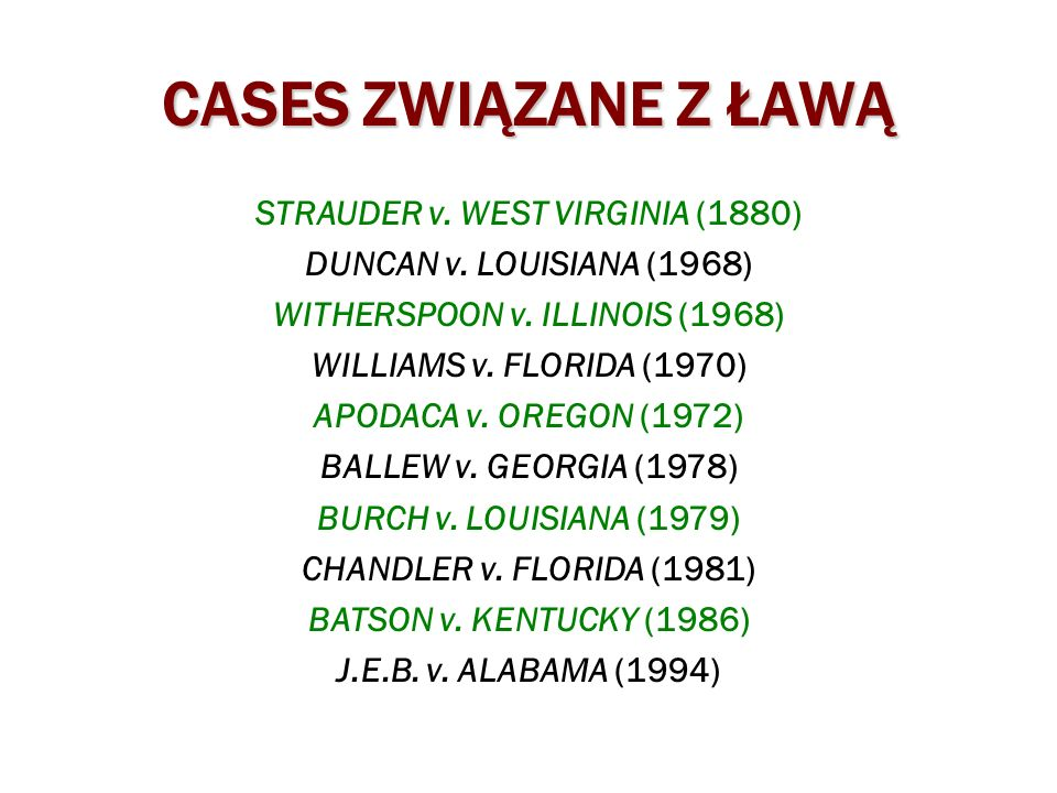 CASES ZWIĄZANE Z ŁAWĄ STRAUDER v. WEST VIRGINIA (1880) DUNCAN v.