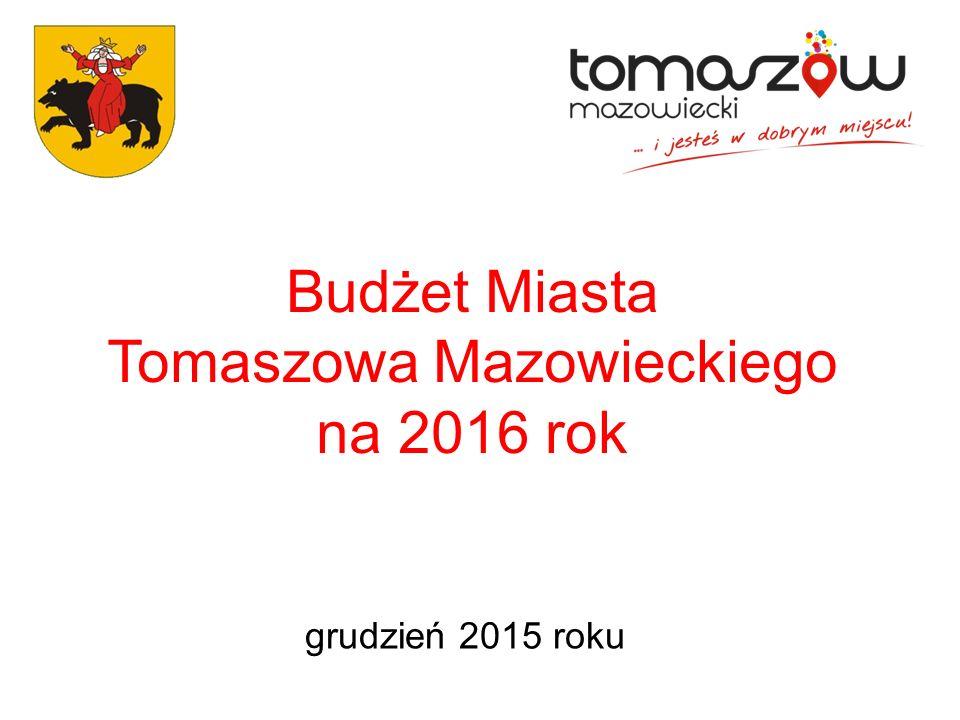 Budżet Miasta Tomaszowa Mazowieckiego na rok 2016 Dochody naszego Miasta w 2016 roku wyniosą 187.266.371,00 zł.