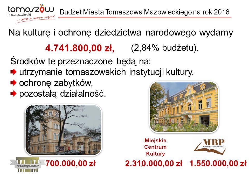 Na kulturę i ochronę dziedzictwa narodowego wydamy 4.741.800,00 zł, (2,84% budżetu).