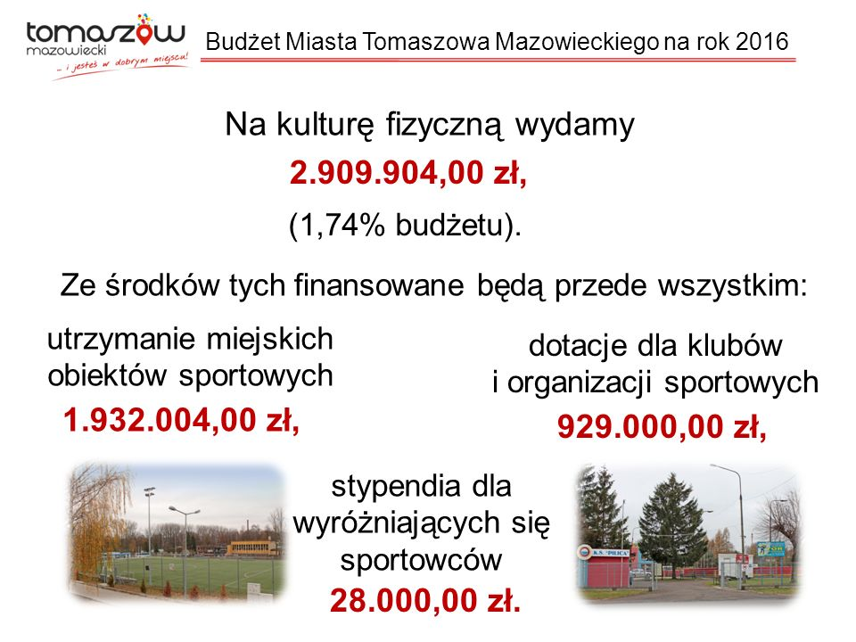 Na kulturę fizyczną wydamy 2.909.904,00 zł, (1,74% budżetu).