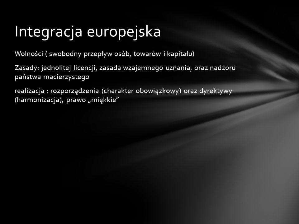 """Wolności ( swobodny przepływ osób, towarów i kapitału) Zasady: jednolitej licencji, zasada wzajemnego uznania, oraz nadzoru państwa macierzystego realizacja : rozporządzenia (charakter obowiązkowy) oraz dyrektywy (harmonizacja), prawo """"miękkie Integracja europejska"""
