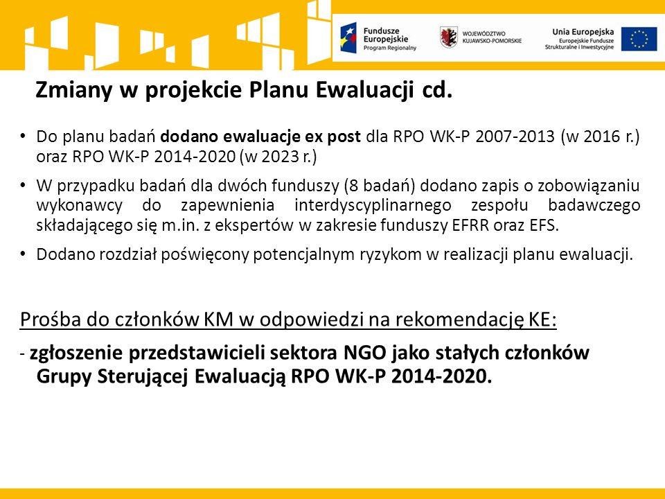 Zmiany w projekcie Planu Ewaluacji cd.