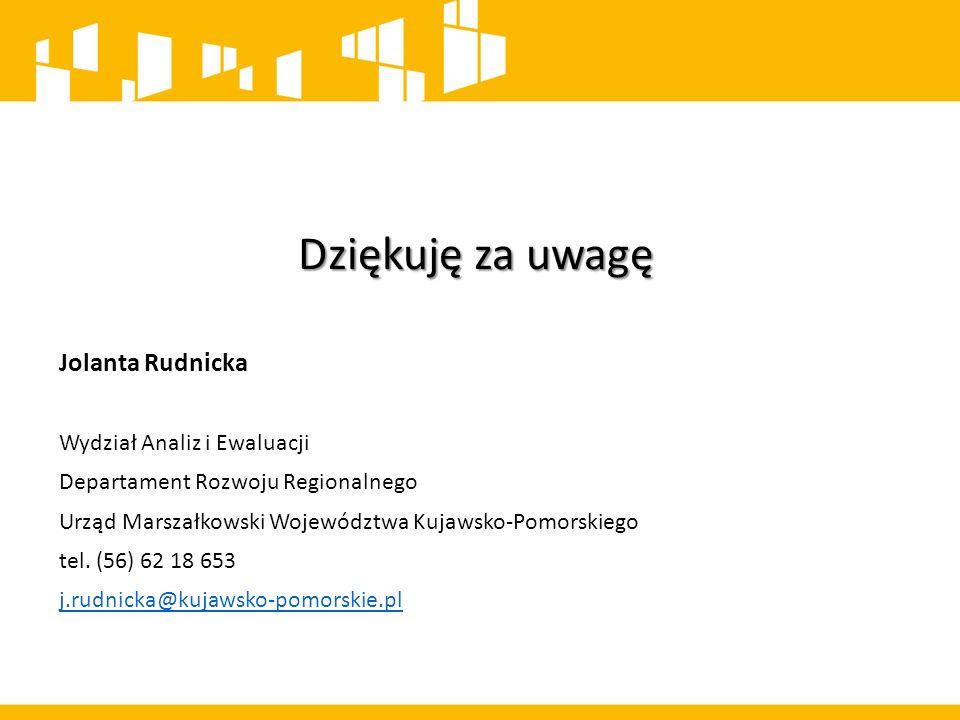 Dziękuję za uwagę Jolanta Rudnicka Wydział Analiz i Ewaluacji Departament Rozwoju Regionalnego Urząd Marszałkowski Województwa Kujawsko-Pomorskiego tel.