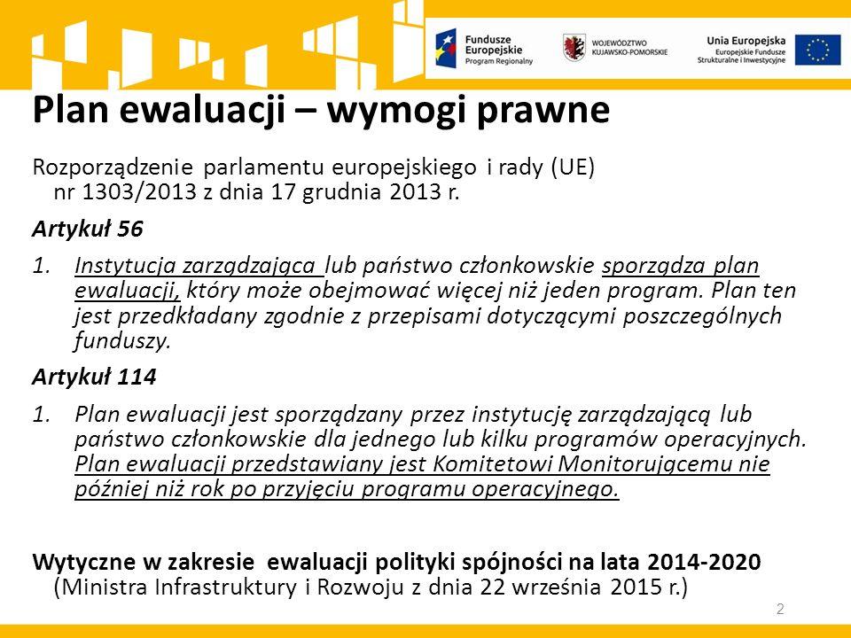 Plan ewaluacji – wymogi prawne Rozporządzenie parlamentu europejskiego i rady (UE) nr 1303/2013 z dnia 17 grudnia 2013 r.