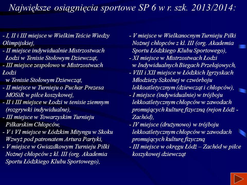 Największe osiągnięcia sportowe SP 6 w r. szk.