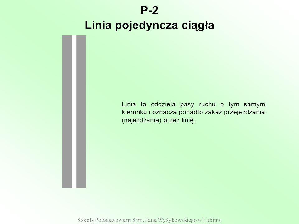 Szkoła Podstawowa nr 8 im. Jana Wyżykowskiego w Lubinie P-2 Linia ta oddziela pasy ruchu o tym samym kierunku i oznacza ponadto zakaz przejeżdżania (n
