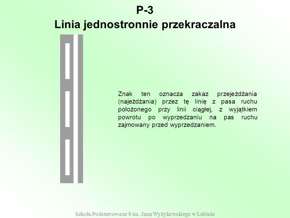 Szkoła Podstawowa nr 8 im. Jana Wyżykowskiego w Lubinie P-3 Znak ten oznacza zakaz przejeżdżania (najeżdżania) przez tę linię z pasa ruchu położonego