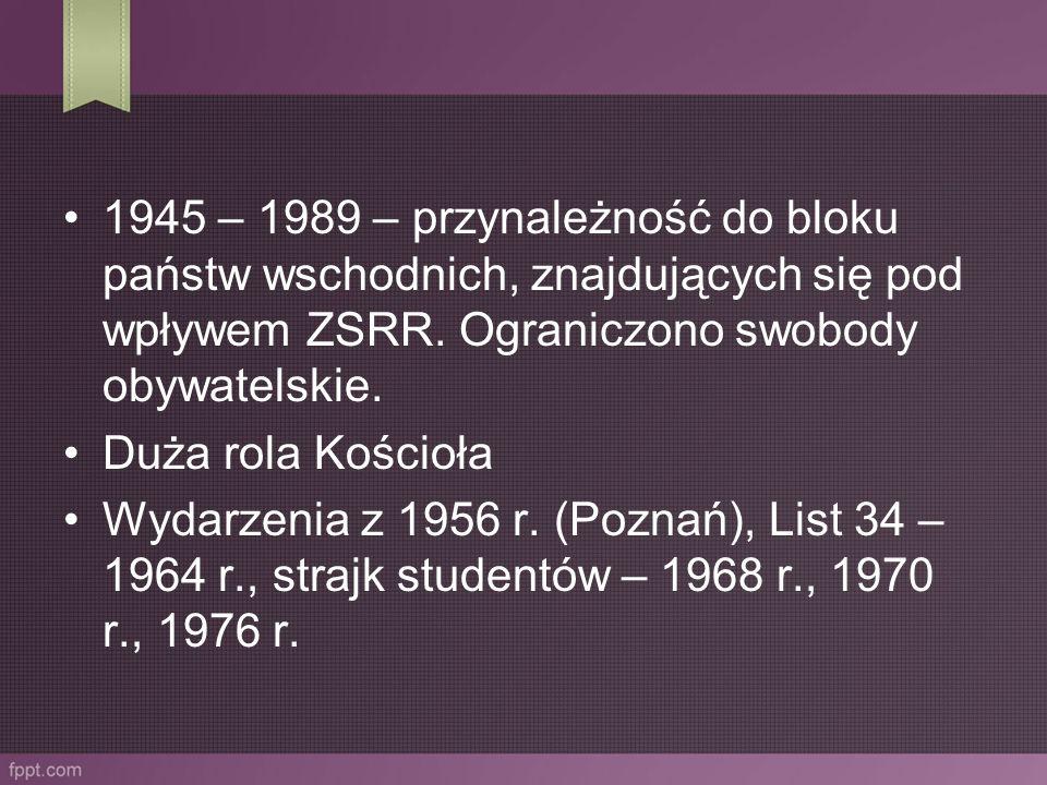 1945 – 1989 – przynależność do bloku państw wschodnich, znajdujących się pod wpływem ZSRR. Ograniczono swobody obywatelskie. Duża rola Kościoła Wydarz