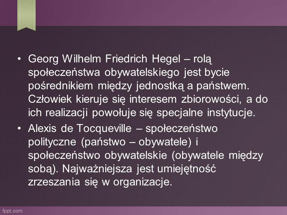 Georg Wilhelm Friedrich Hegel – rolą społeczeństwa obywatelskiego jest bycie pośrednikiem między jednostką a państwem. Człowiek kieruje się interesem
