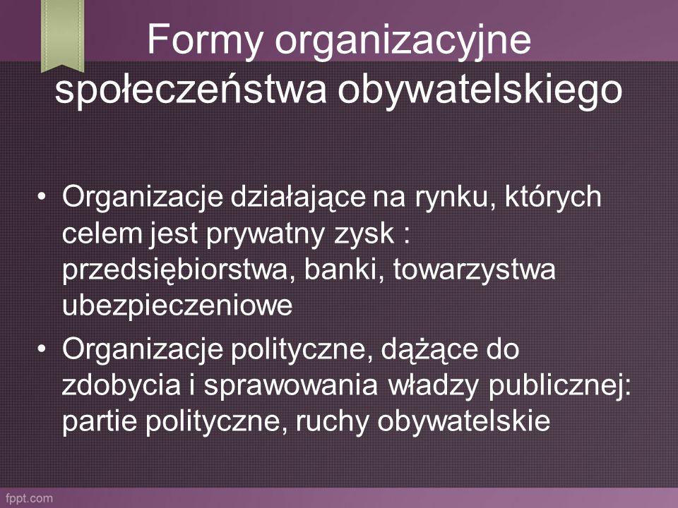 Organizacje działające w celu poszerzenia obszaru racjonalnej debaty publicznej: mass media, niezależne ośrodki badawcze, ośrodki akademickie Organizacje społeczne, gospodarcze, kulturalne i polityczne, których celem jest wywieranie wpływu na ośrodki władzy: stowarzyszenia, związki zawodowe, organizacje przedsiębiorców, związki wyznaniowe.