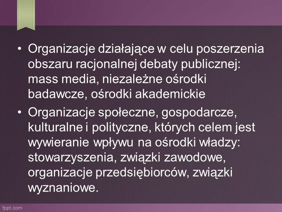 Organizacje działające w celu poszerzenia obszaru racjonalnej debaty publicznej: mass media, niezależne ośrodki badawcze, ośrodki akademickie Organiza