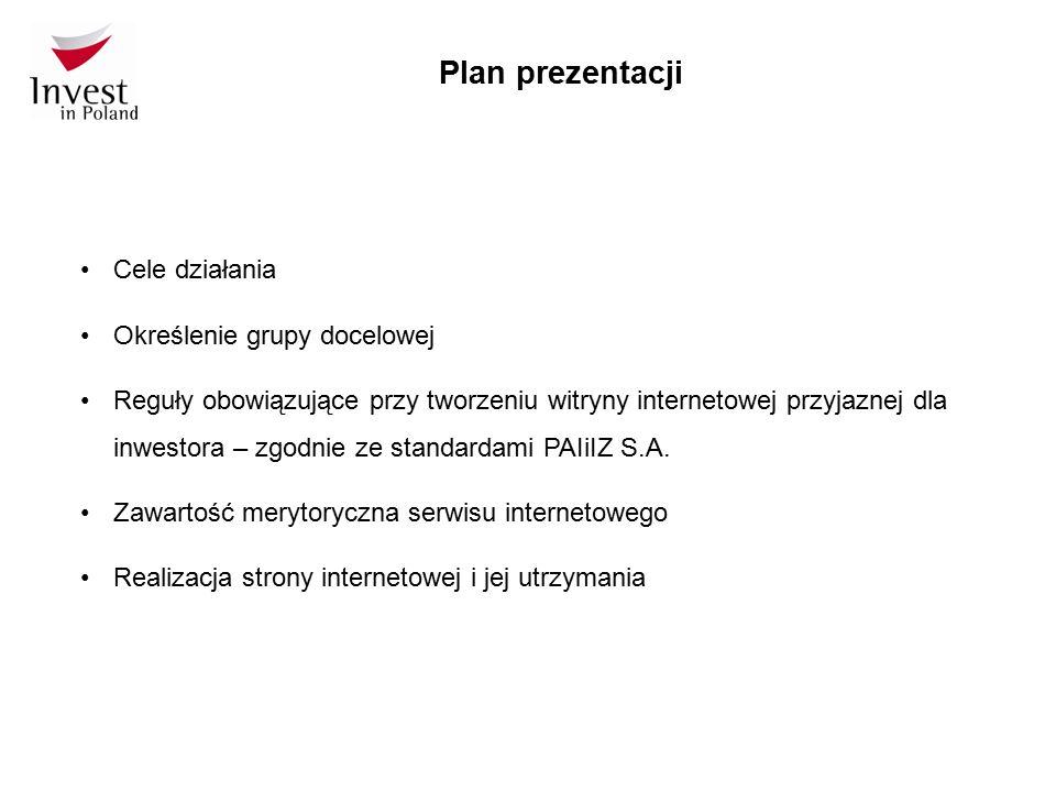 Plan prezentacji Cele działania Określenie grupy docelowej Reguły obowiązujące przy tworzeniu witryny internetowej przyjaznej dla inwestora – zgodnie