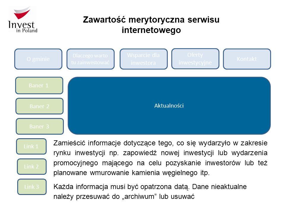 Zawartość merytoryczna serwisu internetowego O gminie Dlaczego warto tu zainwestować Wsparcie dla inwestora Oferty inwestycyjne Kontakt Baner 1 Baner