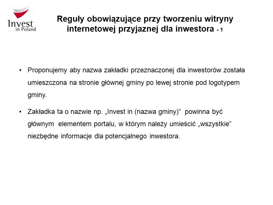Reguły obowiązujące przy tworzeniu witryny internetowej przyjaznej dla inwestora - 1 Proponujemy aby nazwa zakładki przeznaczonej dla inwestorów zosta