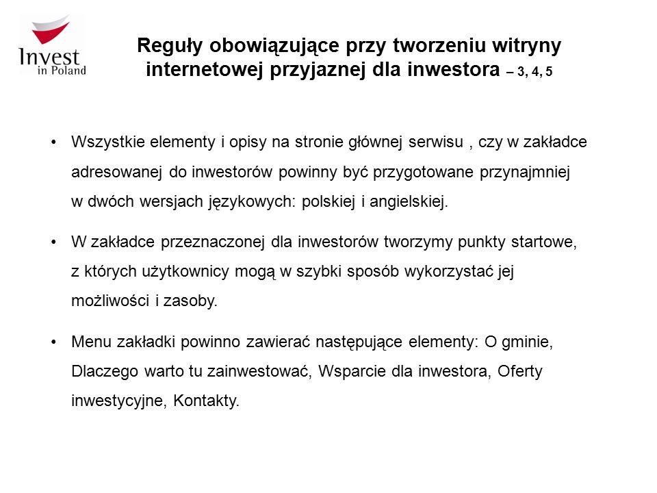 Reguły obowiązujące przy tworzeniu witryny internetowej przyjaznej dla inwestora – 3, 4, 5 Wszystkie elementy i opisy na stronie głównej serwisu, czy