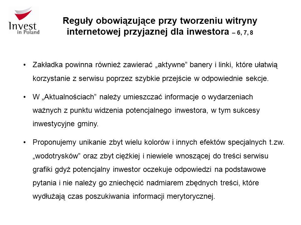 """Reguły obowiązujące przy tworzeniu witryny internetowej przyjaznej dla inwestora – 6, 7, 8 Zakładka powinna również zawierać """"aktywne"""" banery i linki,"""