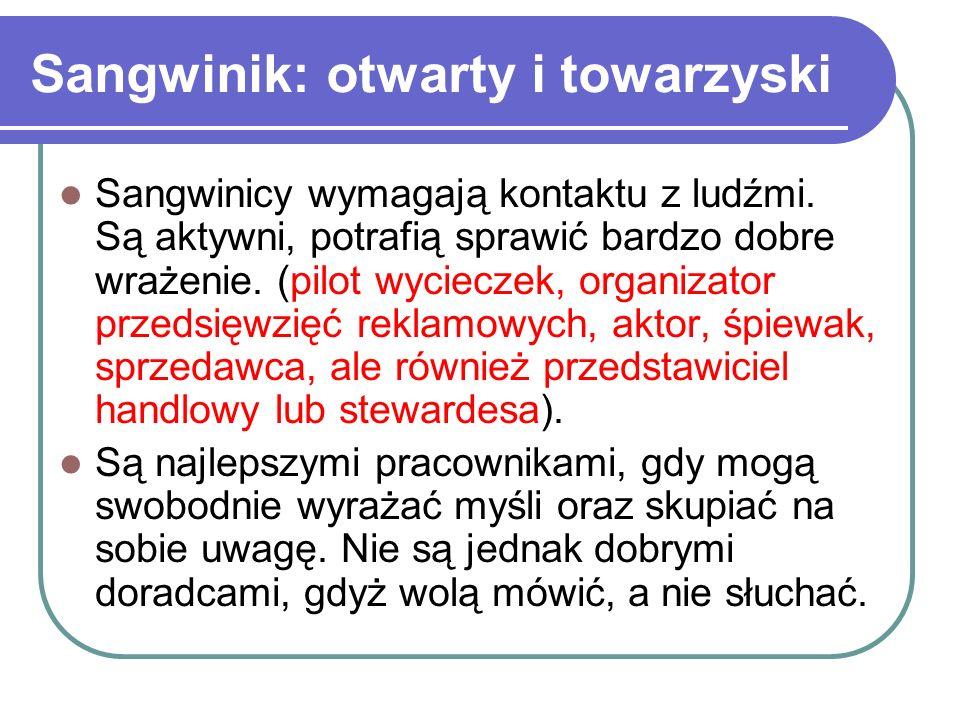 Sangwinik: otwarty i towarzyski Sangwinicy wymagają kontaktu z ludźmi. Są aktywni, potrafią sprawić bardzo dobre wrażenie. (pilot wycieczek, organizat
