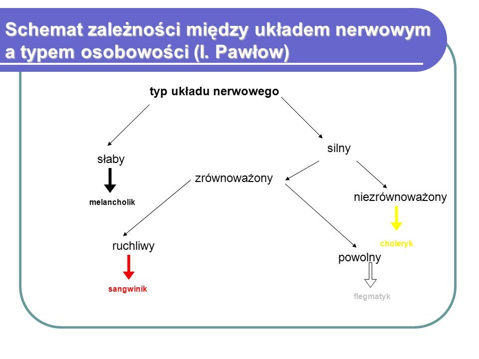 Schemat zależności między układem nerwowym a typem osobowości (I. Pawłow) słaby silny zrównoważony niezrównoważony ruchliwy powolny typ układu nerwowe