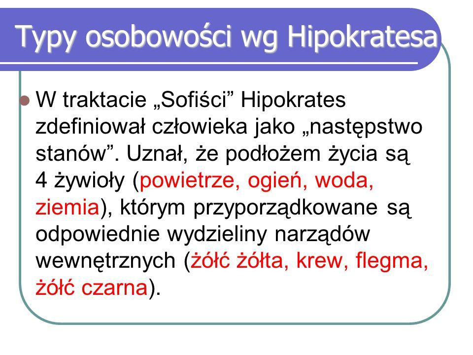 """Typy osobowości wg Hipokratesa W traktacie """"Sofiści"""" Hipokrates zdefiniował człowieka jako """"następstwo stanów"""". Uznał, że podłożem życia są 4 żywioły"""