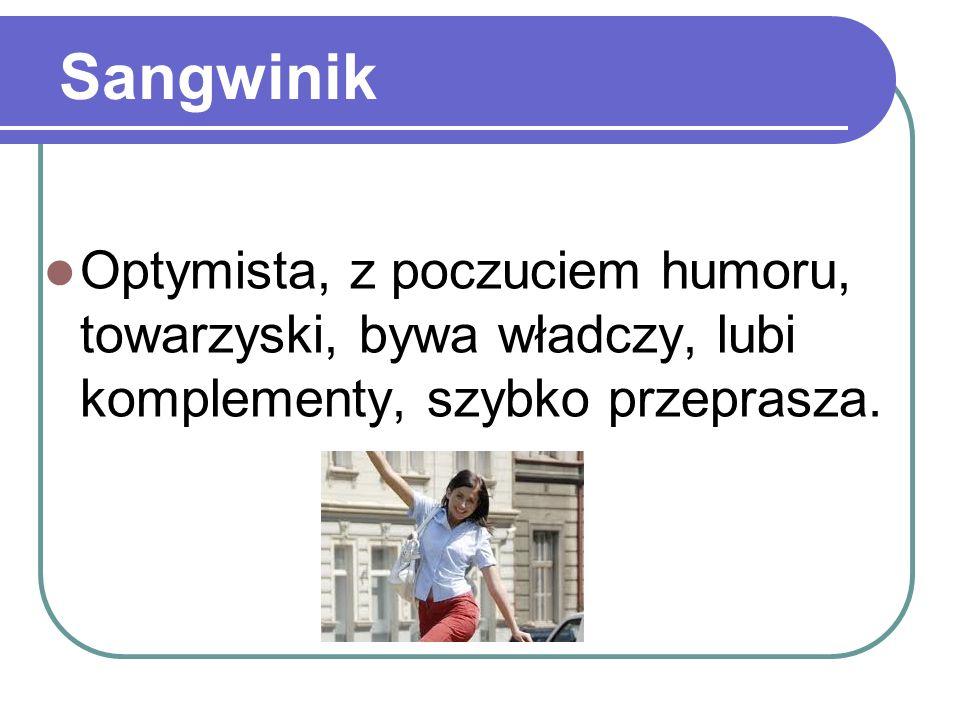 Sangwinik Optymista, z poczuciem humoru, towarzyski, bywa władczy, lubi komplementy, szybko przeprasza.
