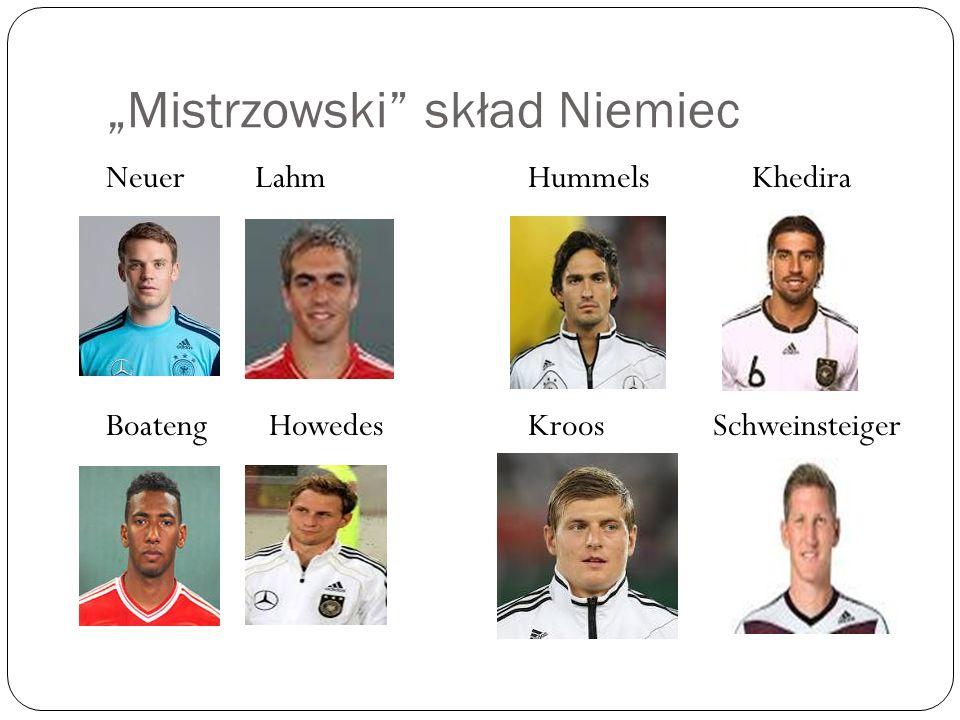 """""""Mistrzowski"""" skład Niemiec Neuer Lahm Boateng Howedes Hummels Khedira Kroos Schweinsteiger"""