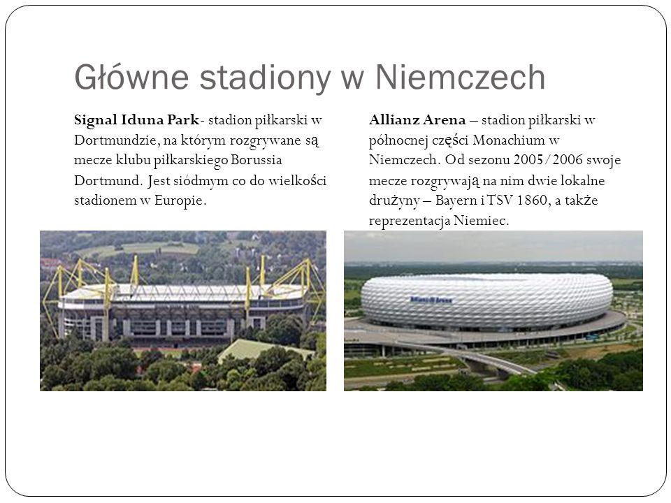 Główne stadiony w Niemczech Signal Iduna Park- stadion piłkarski w Dortmundzie, na którym rozgrywane s ą mecze klubu piłkarskiego Borussia Dortmund.