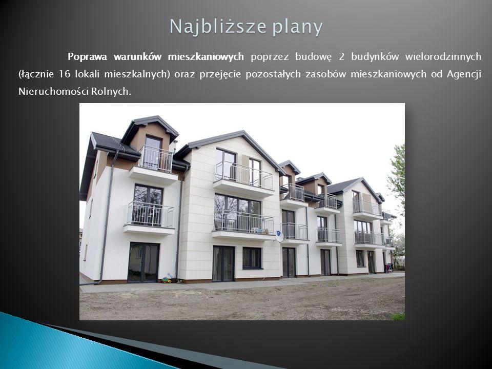 Poprawa warunków mieszkaniowych poprzez budowę 2 budynków wielorodzinnych (łącznie 16 lokali mieszkalnych) oraz przejęcie pozostałych zasobów mieszkaniowych od Agencji Nieruchomości Rolnych.