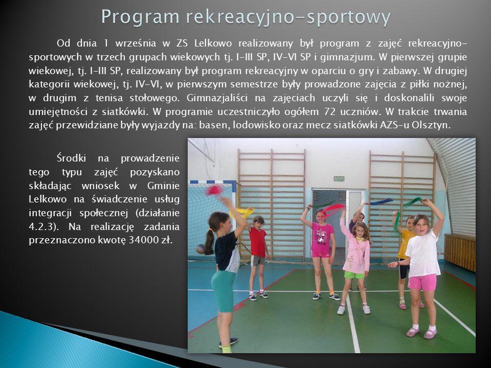 Od dnia 1 września w ZS Lelkowo realizowany był program z zajęć rekreacyjno- sportowych w trzech grupach wiekowych tj.