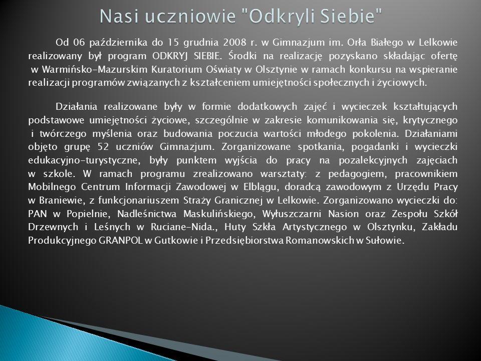 Od 06 października do 15 grudnia 2008 r.w Gimnazjum im.