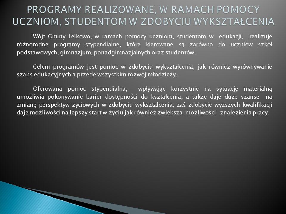 Wójt Gminy Lelkowo, w ramach pomocy uczniom, studentom w edukacji, realizuje różnorodne programy stypendialne, które kierowane są zarówno do uczniów szkół podstawowych, gimnazjum, ponadgimnazjalnych oraz studentów.