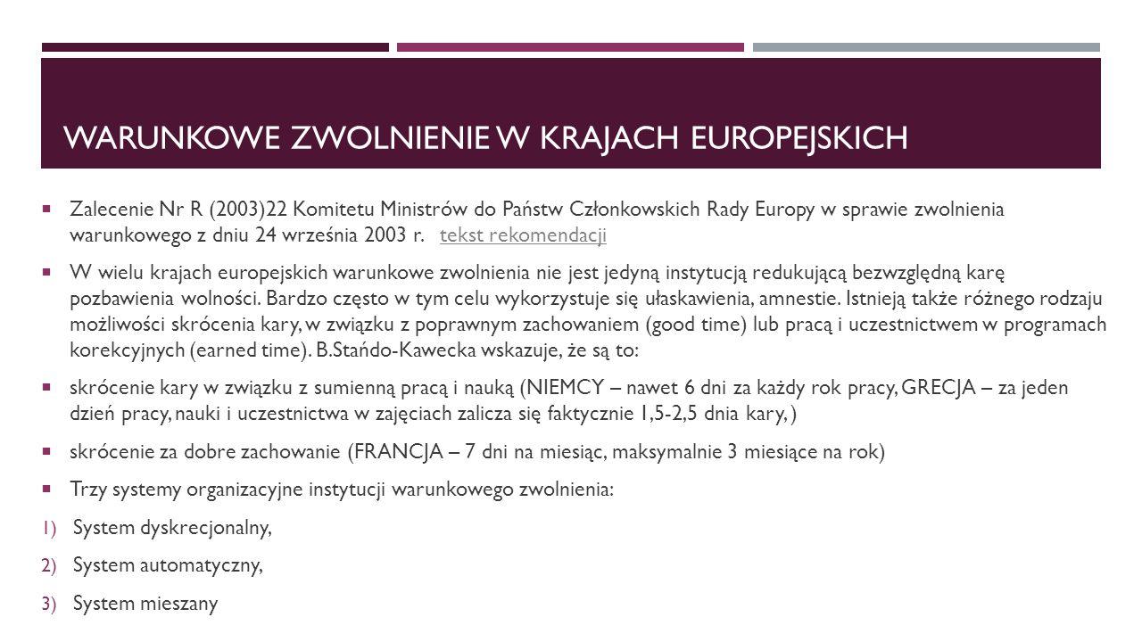 WARUNKOWE ZWOLNIENIE W KRAJACH EUROPEJSKICH  Zalecenie Nr R (2003)22 Komitetu Ministrów do Państw Członkowskich Rady Europy w sprawie zwolnienia warunkowego z dniu 24 września 2003 r.