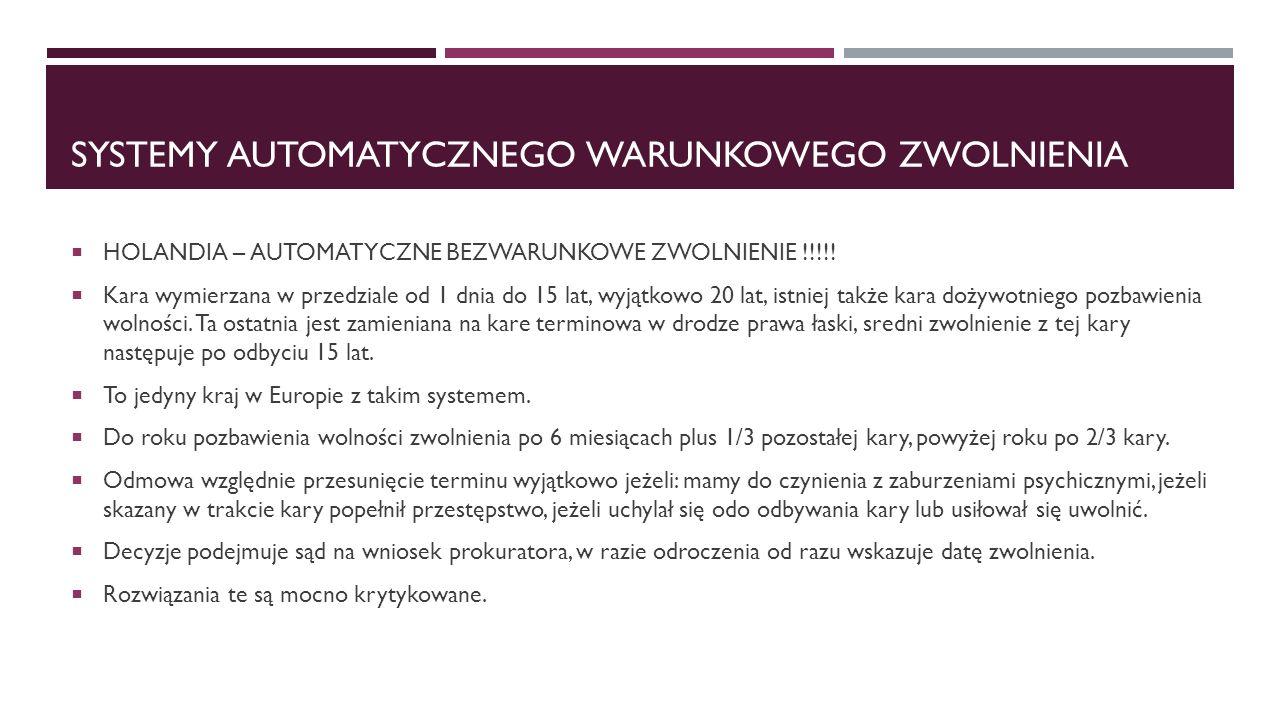 SYSTEMY AUTOMATYCZNEGO WARUNKOWEGO ZWOLNIENIA  HOLANDIA – AUTOMATYCZNE BEZWARUNKOWE ZWOLNIENIE !!!!!  Kara wymierzana w przedziale od 1 dnia do 15 l
