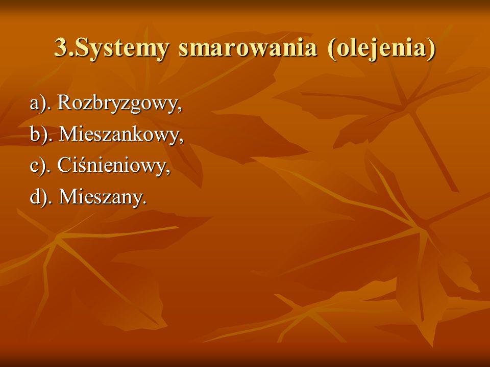 3.Systemy smarowania (olejenia) a). Rozbryzgowy, b). Mieszankowy, c). Ciśnieniowy, d). Mieszany.