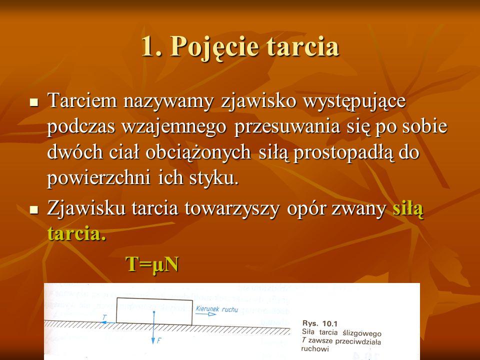 1. Pojęcie tarcia Tarciem nazywamy zjawisko występujące podczas wzajemnego przesuwania się po sobie dwóch ciał obciążonych siłą prostopadłą do powierz