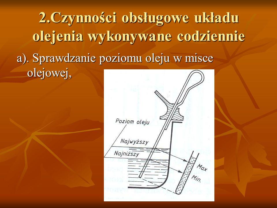 2.Czynności obsługowe układu olejenia wykonywane codziennie a). Sprawdzanie poziomu oleju w misce olejowej,