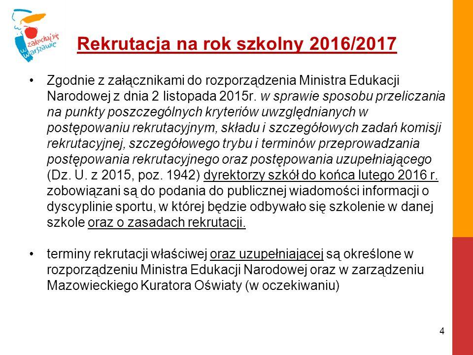 Rekrutacja na rok szkolny 2016/2017 Zgodnie z załącznikami do rozporządzenia Ministra Edukacji Narodowej z dnia 2 listopada 2015r.